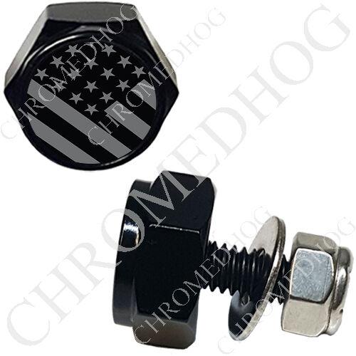 2 Black Billet Custom License Plate Frame Hex Bolts for Harley US Ghost Flag