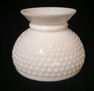 Vtg Hobnail Milk Glass White Opal Glass Oil Kerosene Lamp
