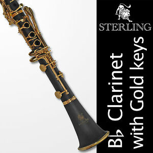Bb-Black-and-Gold-Clarinet-Boehm-17-keys-STERLING-With-Case-Brand-New