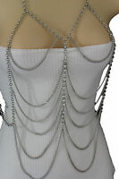 Women Silver Center Beads Thin Drape Metal Body Chains Long Necklace Jewelry