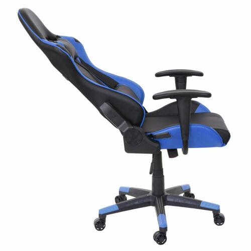 150kg belastbar Kunstleder schwarz//blau Gamingstuhl Bürostuhl HWC-D25