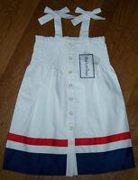 Hartstrings White/navy Blue/red Smocked Dress Sundress 7 Patriotic July 4