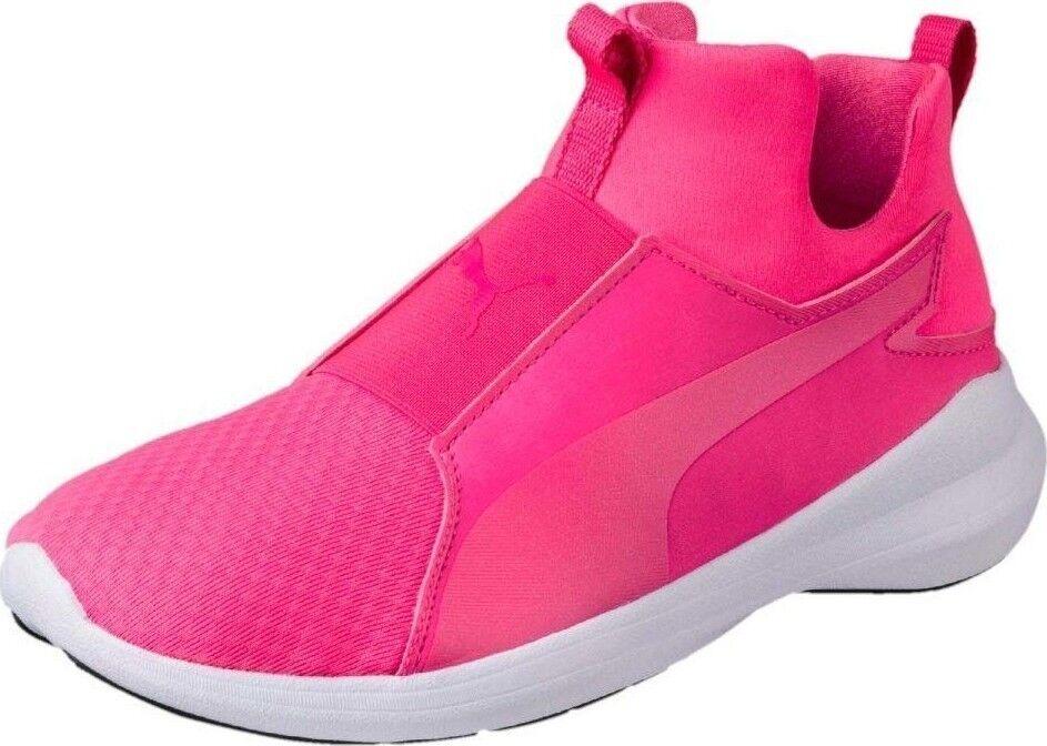 PUMA REBEL MID TRAINERS scarpe da ginnastica donna scarpe rosa bianca 64539-03 Dimensione 6.5 NEW