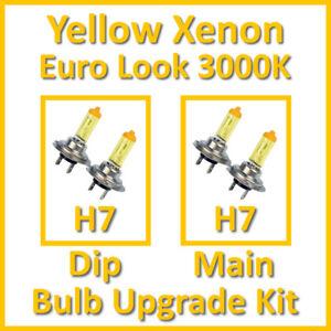 Warm White 3000K Yellow Xenon Headlight Bulb Set Main Dip Fog H7 ...