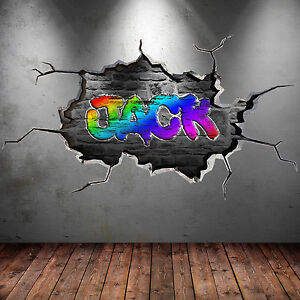 Image is loading 3D-FULL-COLOUR-PERSONALISED-GRAFFITI-NAME-Wall-Art- & 3D FULL COLOUR PERSONALISED GRAFFITI NAME Wall Art Sticker Decal ...