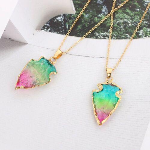 Lovely Crystal Triangle Arrow origine Naturelle Pierre Collier Pendentif Bijoux