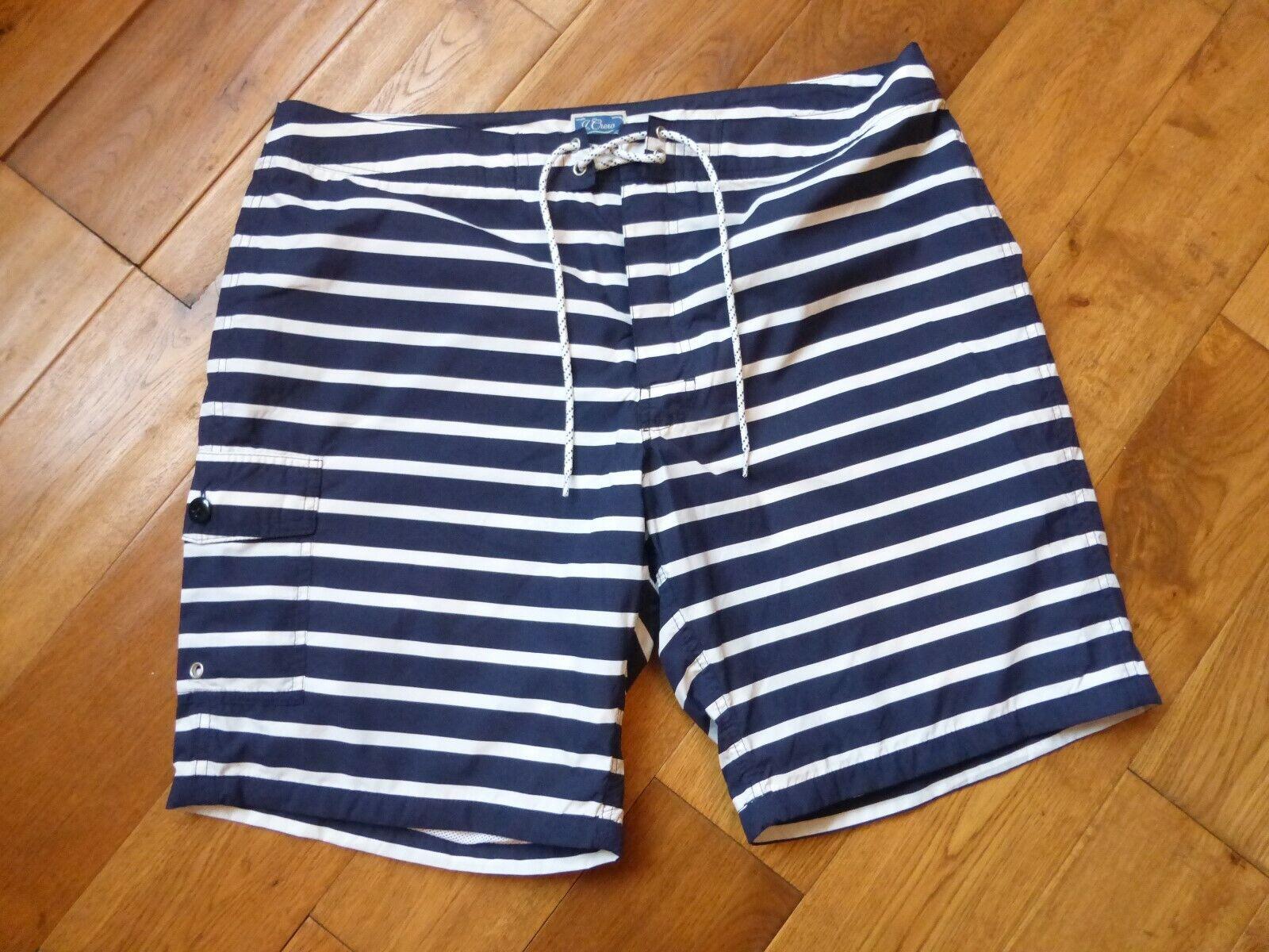 BNWT J. Crew men's 9 inch Board shorts in navy stripe W 36 NEW swim swimwear