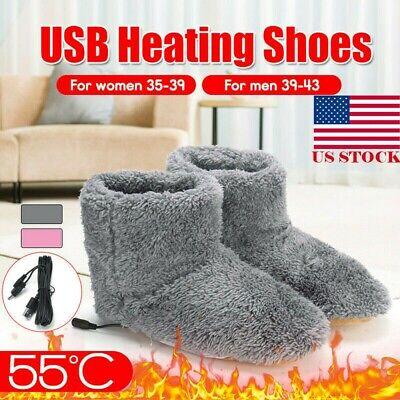 Winter USB Warmer Foot Shoes Plush Warm Electric Slipper Feet Heat Washable  US