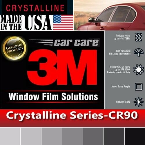 "3M Crystalline 90/% VLT Automotive Car Window Tint Film Roll Size 35/"" x 60/"" CR90"