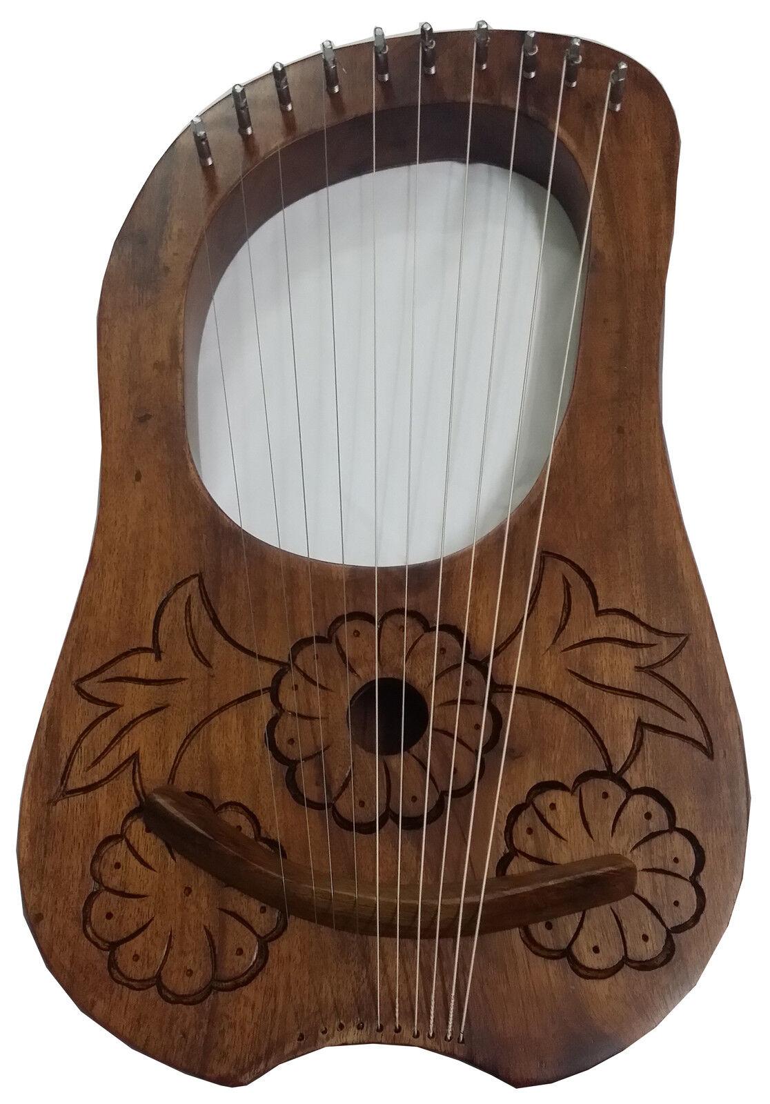 Hs Lira Harp Inciso Legno di Sheesham 10 Metal Cordoncini Custodia da Trasporto