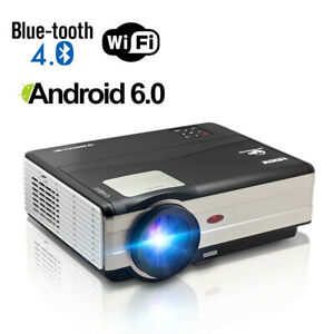 Android-6-0-WIFI-Beamer-Heimkino-Projektor-Bluetooth-Multimedia-HD1080p-USB-HDMI