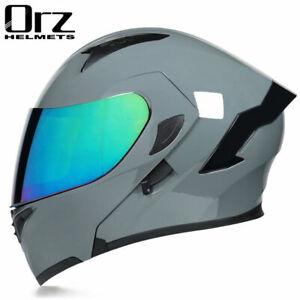 Motorcycle Helmet Full Face Dual Lens Racing Motcross Flip Up Helmet DOT Approve
