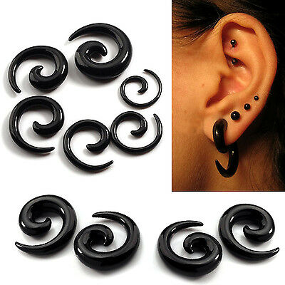 1 Pair Spiral Swirl Acrylic Ear Plugs Stretcher Expander Taper Tunnels Black New