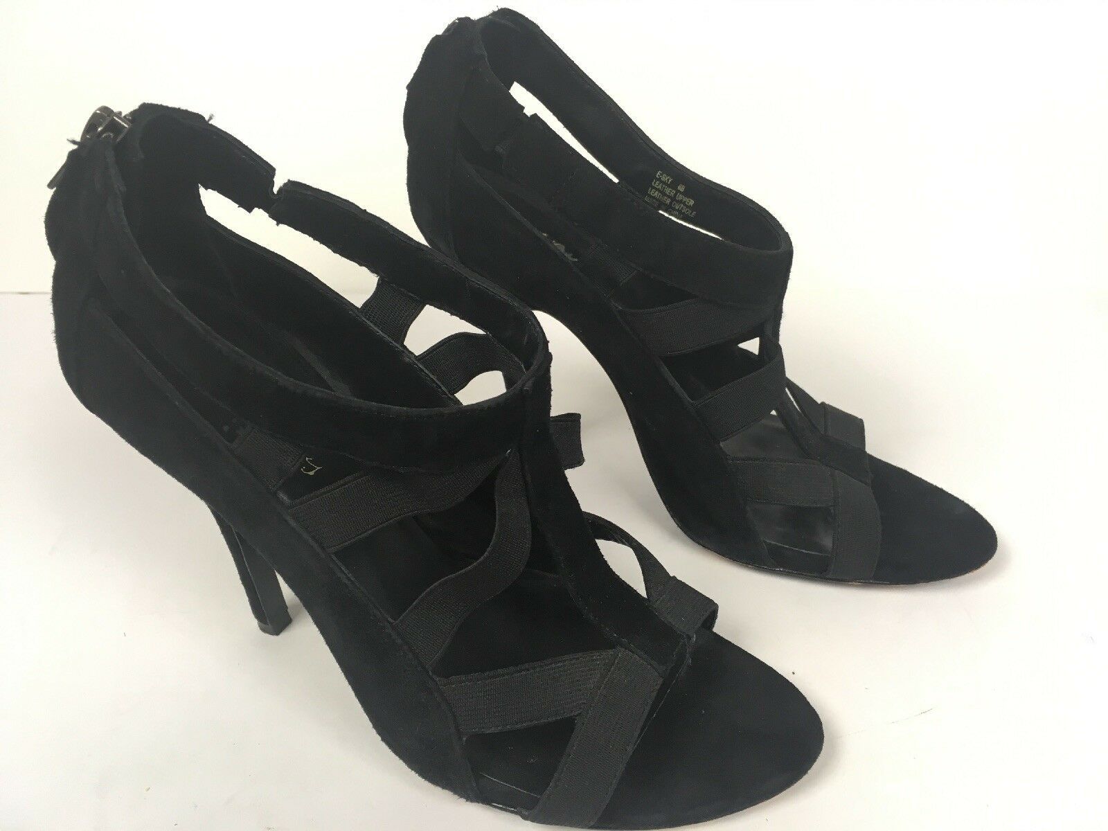 Elizabeth James Womens Black Suede Heels Stiletto Caged Strappy, Strappy, Strappy, Zipper Size 8 B f74023