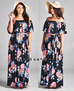 d15a8634df1 Plus Size Black Floral Off Shoulder Ruffle Boho Maxi Dress Pink Blue ...