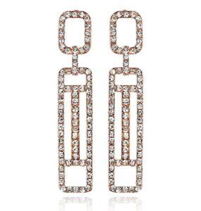 Geometric-Austrian-Crystal-Rhinestone-Chandelier-Dangle-Earrings-E120R-Rose-Gold