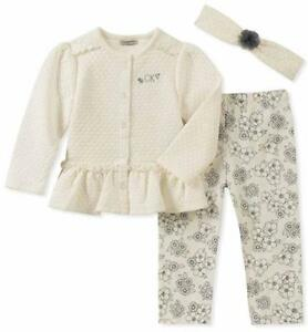 958e0396c7baa Calvin Klein Infant Girls Cardigan 3pc Set Size 0 3M 3 6M 6 9M 12M ...