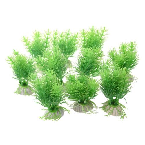 gruene Pflanzen aus Kunststoff fuer Aquarium Fischtank F2T6 10 Stk