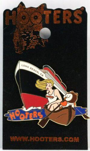 HOOTERS GIRL LONG BEACH CA CALIFORNIA GIRL LABEL PIN QUEEN MARY SHIP BOAT