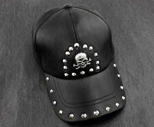 Leather cap biker hat skull studded motorcycle black H21 BIKELIST