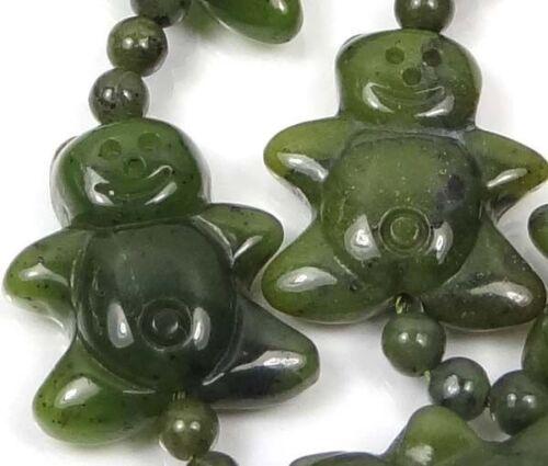 4 Olive Green Jade Gingerbread Men Beads 21mm