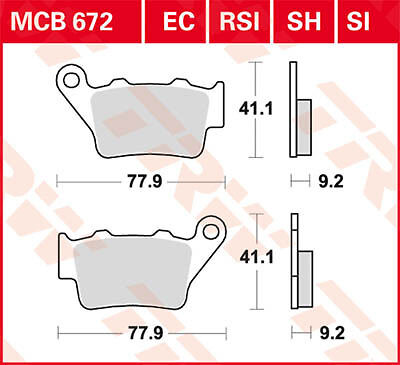Plaquettes de frein Arrière TRW Lucas MCB 672 SH pour SYM 600 MaxSym i 14