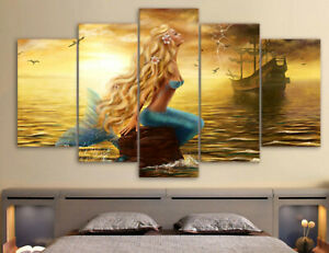 Beautiful Mermaid Sea 5 piece canvas Wall Art Home Decor Picture Print