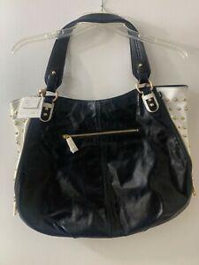 Badgley Mishka Taylor Bi-Color Shine Studded Shoulder Bag BLK/WHT Leather NWT