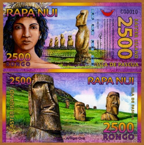 New Easter Island 2,500 UNC /> Beautiful Rongo Polymer 2011 2500