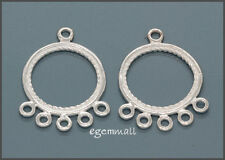 2 Sterling Silver Round Circle Earring Chandelier Connector Beads #51425