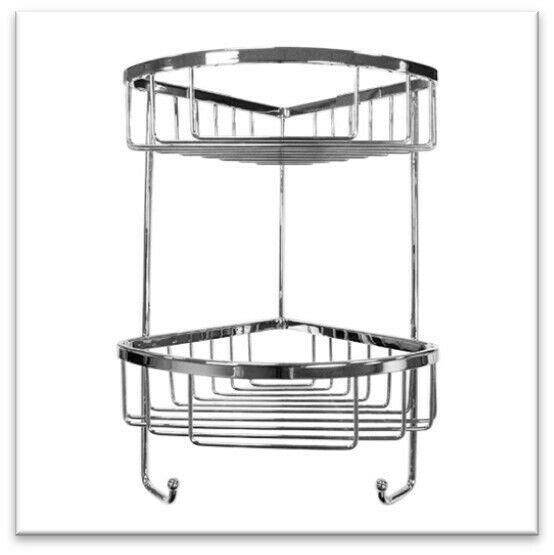 *CLEARANCE* BATHROOM Double Corner Shower Basket with Hooks - RSB05