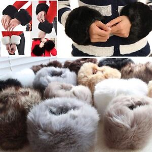 Pair-Of-Ladies-Womens-Girls-Winter-Warm-Faux-Rabbit-Fur-Fleece-Wrist-Cuff-Band