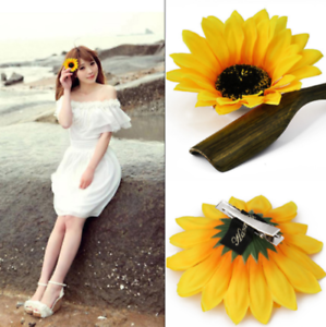 2PC-Women-Sunflower-Flower-Hair-Clip-Accessories-Barrette-Hawaiian-Wedding-Party
