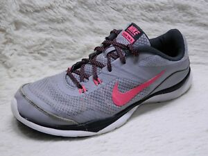 e3454a0aa489 Nike Flex Trainer 5 Training Shoes Womens Size 8 Grey Pink Running ...