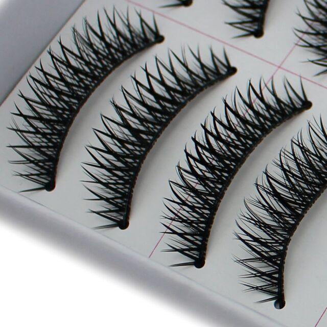 10 Pairs Cross False Fake Eyelashes Black Eye Lashes Extension