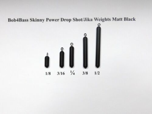 un pack environ 12.70 cm Bob 4 Bass Tungstène Skinny Power Drop Shot//Jika poids MATT BLACK 5 IN