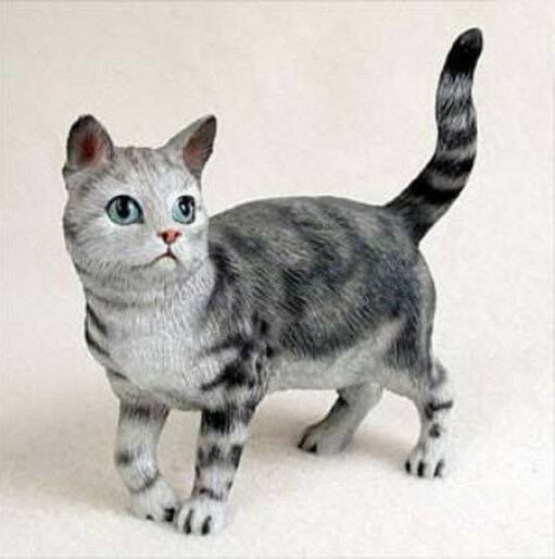 shorthaired standing silver tabby cat figurine statue hand painted