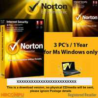 Norton Internet Security 3 PC's / 2017 - 1 Year  -  License Activation Key