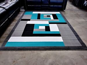 Details About Modern Rug Contemporary Area 5x8 Turquoise Black White Abstract Rugs New