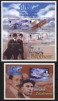 Block 95 Luftfahrt Wright ** 10527 Kleinbogen Montserrat 1196-1199 Privatve