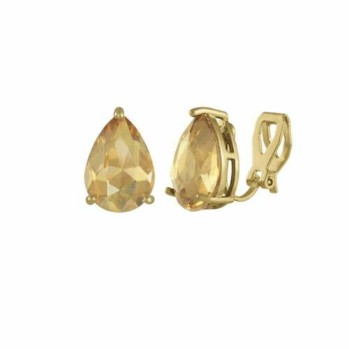 Seducción Lágrima Topacio AB Cristal Oro Tono Pendientes con Pasador Clip en