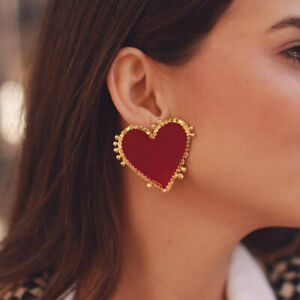Fashion-Women-Geometric-Red-Heart-Earrings-Drop-Dangle-Stud-Punk-Jewelry