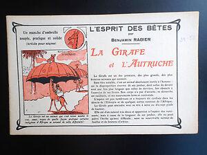 RARISSIME-L-039-esprit-des-Betes-Benjamin-Rabier-La-girafe-l-039-autruche-TTBE-annees-20