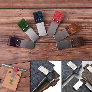 Metal-Genuine-Leather-Pen-Holder-Useful-Clip-Pen-Traveler-Notebook-Diary-E9C