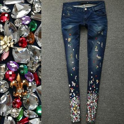 Womens Rhinestones Pants Jeans Casual Spring Stylish Bling Floral Trousers Denim