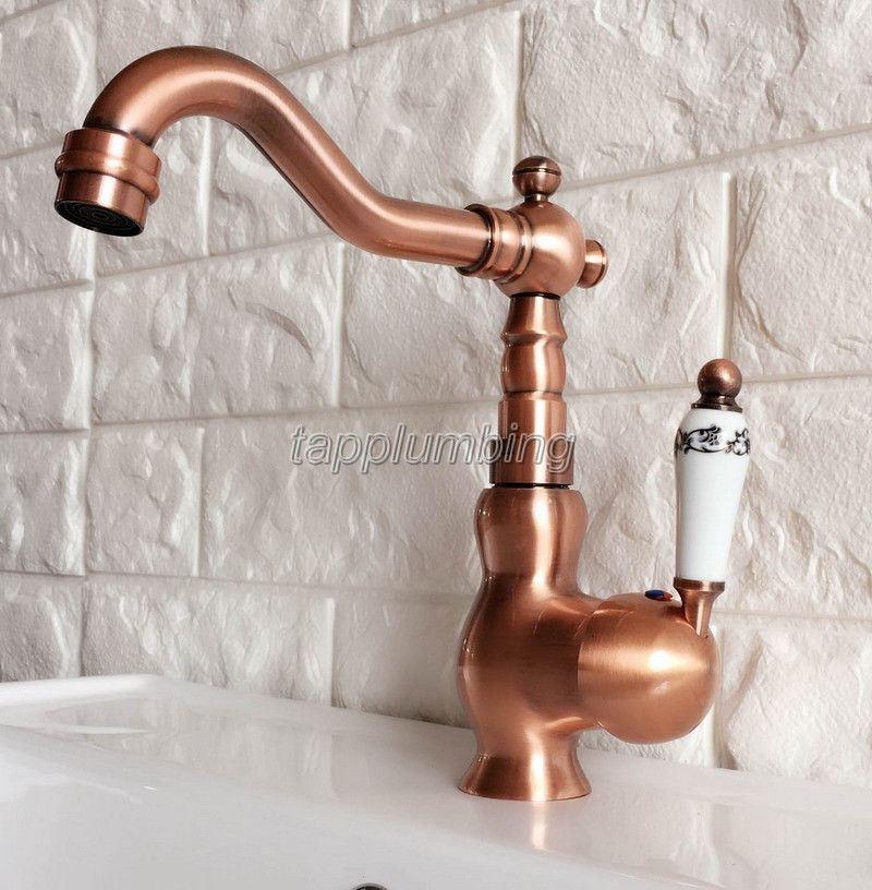 Rouge Cuivre bahroom bassin robinet seule poignée eau froide et chaude Mitigeur tnf403