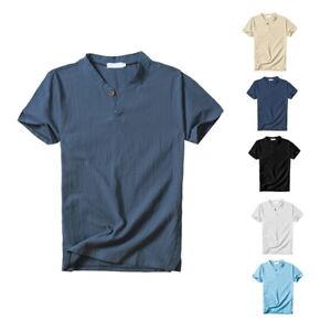 154c984c6b6 Été Hommes col V en coton lin T-shirt à manches courtes Casual Hauts ...