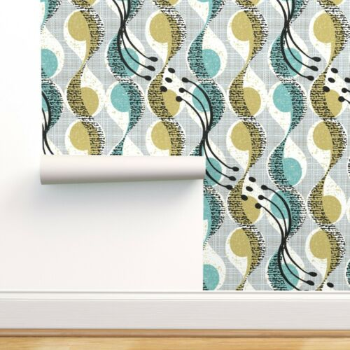 Removable Water-Activated Wallpaper Mid Century Modern Vintage Geometric Blue