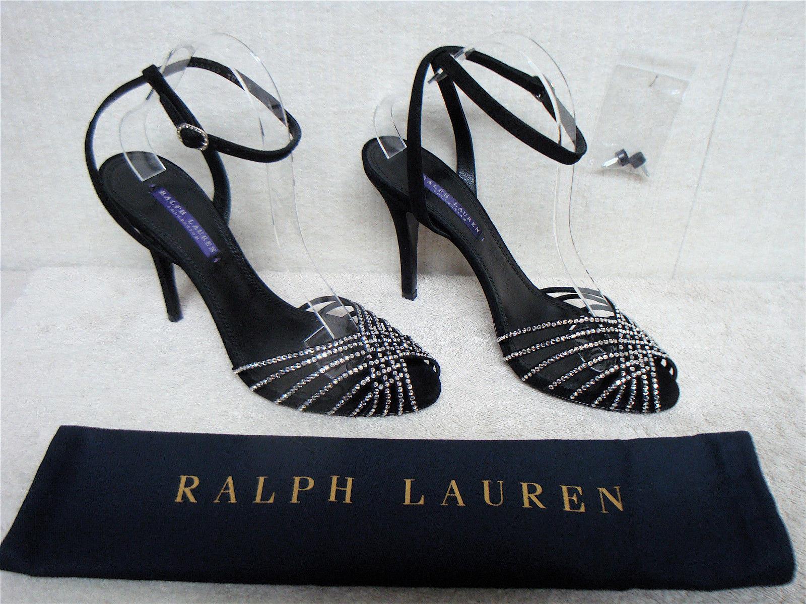 Garanzia di vestibilità al 100% RALPH RALPH RALPH LAUREN BARANIA BLK SUEDE w STONES ANKLE STRAP HEEL SANDAL 9.5B 39.5 ITALY  economico e di alta qualità
