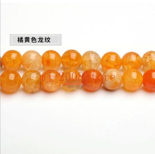 6-10mm Natural Orange Yellow  Dragon Agate  Gemstones Round Loose Beads 15/'/' AAA